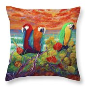 Parrots On The Beach Painterly Throw Pillow