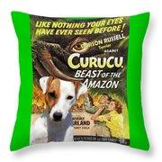 Parson Russell Terrier Art Canvas Print - Curucu  Movie Poster Throw Pillow