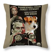 Parson Russell Terrier Art Canvas Print - Rear Window Movie Poster Throw Pillow