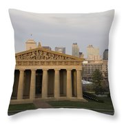 Parthenon With Nashville Skyline  Throw Pillow