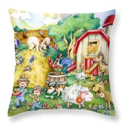 Party At The Farm Throw Pillow