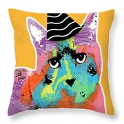 Party Cat- Art By Linda Woods Throw Pillow