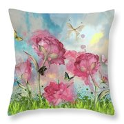 Party In The Posies Throw Pillow