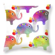 Party Parade - Elephant Children Pattern Throw Pillow
