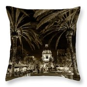 Pasadena City Hall After Dark In Sepia Tone Throw Pillow