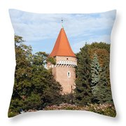 Pasamonikow Tower And Planty Park In Krakow Throw Pillow