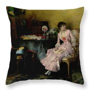 Pascal Adolphe Jean Dagnan-bouveret 1852 - 1929   Woman In Pink With Child Throw Pillow