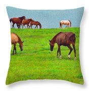 Paso Fino Horses Graze By Seaside Throw Pillow