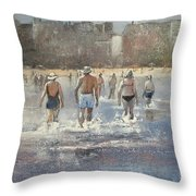 Paseo Por La Playa Del Sardinero Throw Pillow