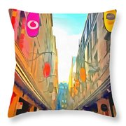 Passage Between Colorful Buildings Throw Pillow