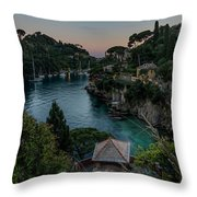 Portofino Pink House In The Wood And The Round Table Throw Pillow