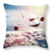 Passenger Airplane Flying At Sunset, Blue Sky. Throw Pillow
