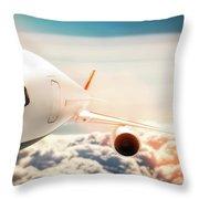 Passenger Airplane Flying At Sunshine, Blue Sky. Throw Pillow