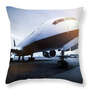 Passenger Airplane On The Airport Parking Throw Pillow