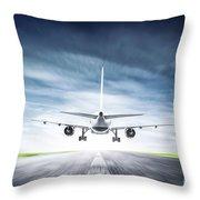 Passenger Airplane Taking Off On Runway Throw Pillow