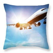 Passenger Airplane Taking Off, Sunny Blue Sky. Throw Pillow