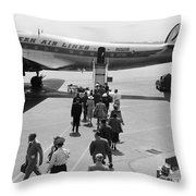 Passengers Boarding A Plane Throw Pillow