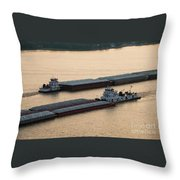 Passing Barges Throw Pillow