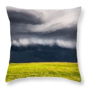 Passing By - Storm Passes By Lone Tree In Western Nebraska Throw Pillow