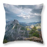 Passing Clouds Over Half Dome Throw Pillow