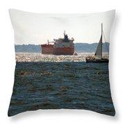 Passing Ships Throw Pillow