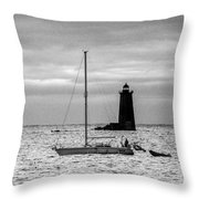 Passing Whaleback Light In The Early Morning Throw Pillow