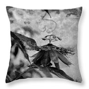Passion Flower Black And White Throw Pillow