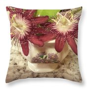 Passion Vine Flower Throw Pillow