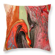 Passionate Waves Abstract Painting Throw Pillow