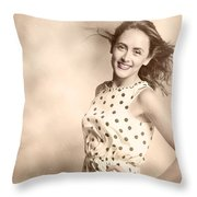Past Hairstyles Pinup Throw Pillow