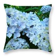 Pastel Blue Hydrangea Flowers Green Garden Floral Throw Pillow