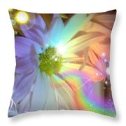 Pastel Daisy Rainbow Universe Throw Pillow