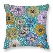 Pastel Floral Garden Throw Pillow