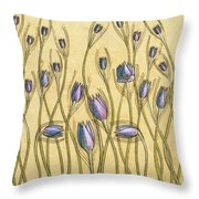 Pastel Floral Pattern On Soft Yellow Background Throw Pillow