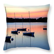 Pastel Lake And Boats Simphony Throw Pillow