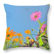 Pastel Poppies Throw Pillow