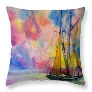 Pastel Sail Throw Pillow