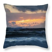 Pastel Sunset Over Stormy Waves Throw Pillow