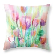 Pastel Tulips Collage Throw Pillow