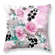 Pastel Water-healing Roses -24 Throw Pillow