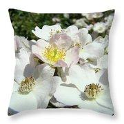 Pastel White Yellow Pink Roses Garden Art Prints Baslee Throw Pillow