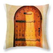 Pastel Wooden Door Throw Pillow