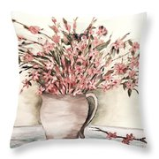 Pastels In Clay Pot Throw Pillow