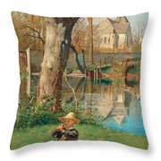 Pastoral Scene On The Bank Of The Loing Throw Pillow
