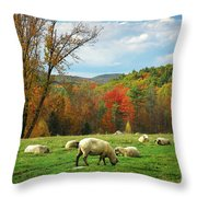 Pasture - New England Fall Landscape Sheep Throw Pillow