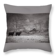 Pasture Field And Barns Throw Pillow