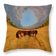 Pasture Of Another World Throw Pillow