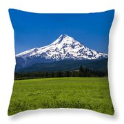 Pasture View Of Mt. Hood Throw Pillow