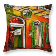 Pat O'brien's Bar On Bourbon Street Throw Pillow