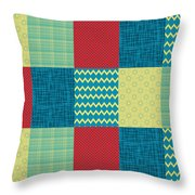 Patchwork Patterns - Muted Primary Throw Pillow